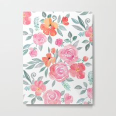 Amelia Floral in Pink and Peach Watercolor Metal Print