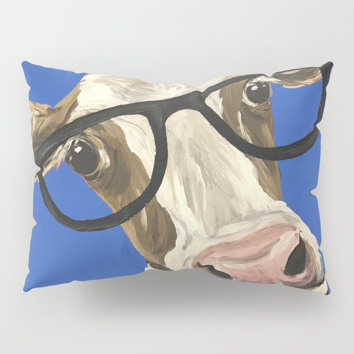 Cute Cow With Glasses, Blue Glasses Cow Pillow Sham