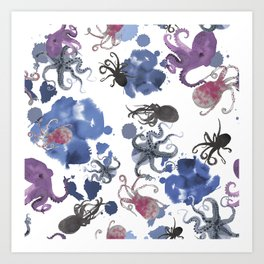 Octopus in blue ink Art Print