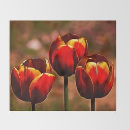 Midnight Blood Red Tulips Throw Blanket