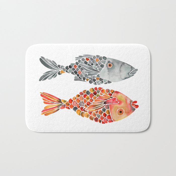 Indonesian Fish Duo – Grey & Orange Palette Bath Mat