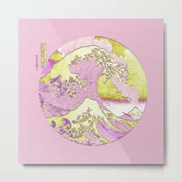 Great Wave Off Kanagawa Mount Fuji Eruption Pink and Yellow Metal Print