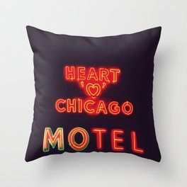 Heart 'O' Chicago Motel (Night) ~ vintage neon sign Throw Pillow