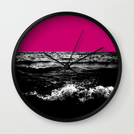 Black Wave w/Hot Pink Horizon Wall Clock
