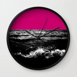 Black Wave w/Hot Pink Horizon Wall Clock