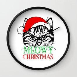 Meowy Christmas Merry Cat Kitten Wall Clock