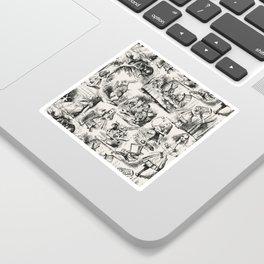 Alice in Wonderland | Toile de Jouy | Black and Beige Sticker