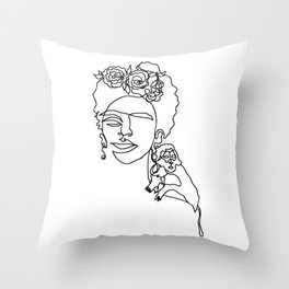 Frida, one line drawing Throw Pillow
