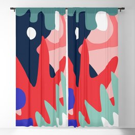 Abstract Floral Pattern Blackout Curtain
