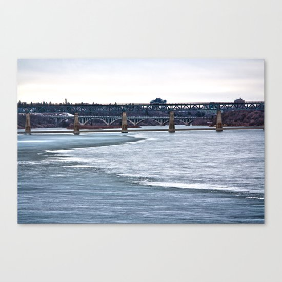 Bridges on the Icy River Canvas Print