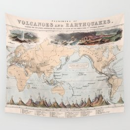 Vintage Volcano and Earthquake World Map (1852) Wall Tapestry