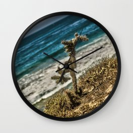 The Lonely Golden Cactus. Wall Clock