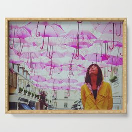 Petrichor | Sculpture of a girl in a yellow raincoat feeling the smell of the rain | Pink Umbrellas  Serving Tray