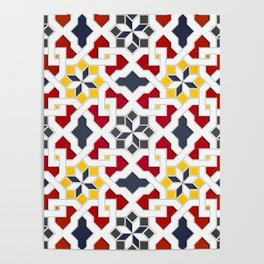 Traditional oriental pattern design -  geometric mosaic style Poster