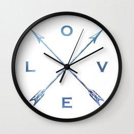 Watercolor Love Arrows Blue Wall Clock