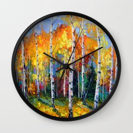 Autumn birches on the edge Wall Clock