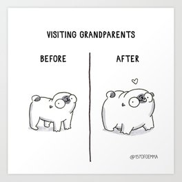 Mochi the pug before and after visiting his grandparents Art Print