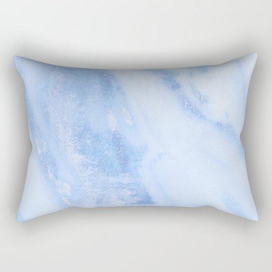 Shimmery Pure Cerulean Blue Marble Metallic Rectangular Pillow