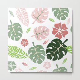 Tropical leaves White paradise #homedecor #apparel #tropical Metal Print
