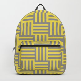 Medium Grid Stripes Tessellation Pattern Pantone 2021 Color Of The Year Illuminating and Ultimate Gray  Backpack