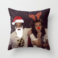 larry stylinson Throw Pillows featuring Noel and Rudolph - Larry Stylinson Christmas by girllarriealmighty