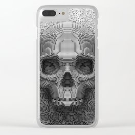 Pixel Skull B&W Clear iPhone Case