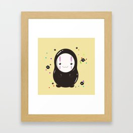 Spirited Away No Face Kawaii With Soot Sprites Framed Art Print