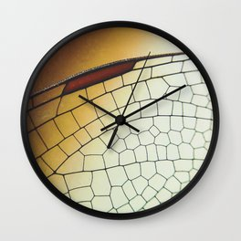 Golden Dragonfly Wing Wall Clock