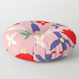 Large Handdrawn Bacchanal Floral Pop Art Print Floor Pillow
