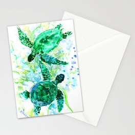 Sea Turtles Underwater Scene Turquoise Blue design, bright blue green design Stationery Cards