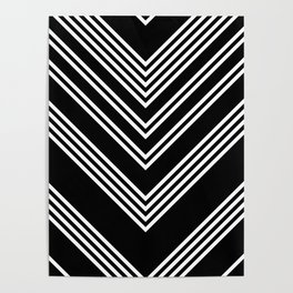 Back and White Lines Minimal Pattern No.3 Poster