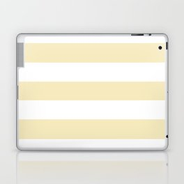 Lemon meringue - solid color - white stripes pattern Laptop & iPad Skin