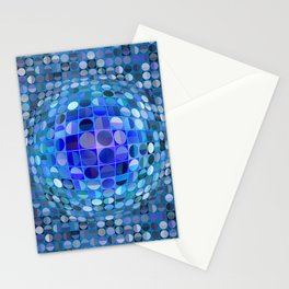 Optical Illusion Sphere - Blue Stationery Cards