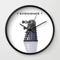 dalek Wall Clocks featuring Pixel Dalek by Dean Bottino