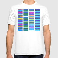 Blue Tinted Stripes Mens Fitted Tee MEDIUM White
