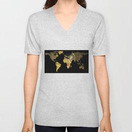 World Map Silhouette - The Kiss Gustav Klimt Unisex V-Neck