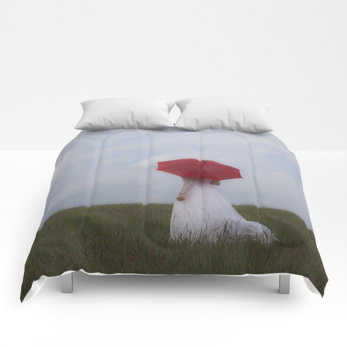 Bride with red umbrella Comforters