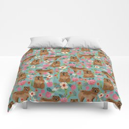 Chow Chow dog breed pet art dog floral pattern gifts for dog lover pet friendly Comforters