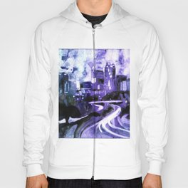 Watercolor painting of skyline of downtown Raleigh, NC at sunrise.  Watercolor painting Raleigh Hoody