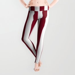 Narrow Vertical Stripes - White and Burgundy Red Leggings