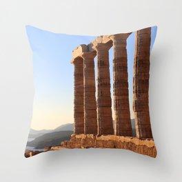 the ancient temple of Poseidon . Cape Sounion, Attica, Athens, Greece Throw Pillow