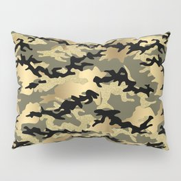 Gold Green Army Print Camouflage Pillow Sham