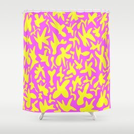 Cute abstract bright yellow shapes on the pink background stylish retro design. Shower Curtain