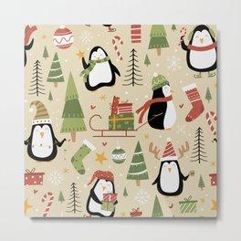 Christmas Penguins Metal Print