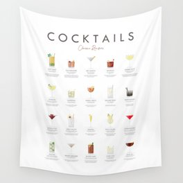 Cocktail Chart - Classic Cocktails Wall Tapestry