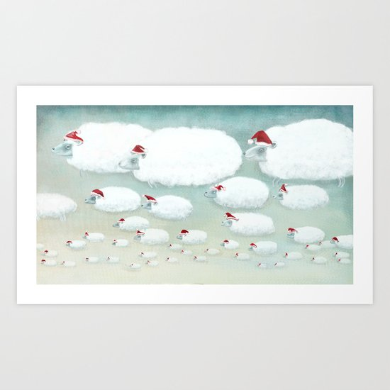 Christmas Cloudy Sheep Art Print