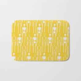 Mustard Yellow and White, Modern People Pattern. Bath Mat