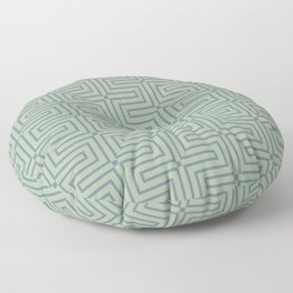 Blue-Green Green Line Art Pattern 3 V4 2021 Color of the Year Aegean Teal and Salisbury Green Floor Pillow
