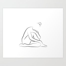 Nude Art Line Drawing - Lovely Layla Art Print