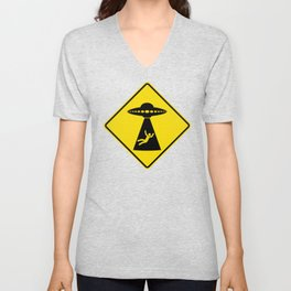 Alien Abduction Safety Warning Sign Unisex V-Neck